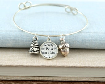 Peter Pan Bracelet / Thimble And Acorn Bracelet / Peter Pan Jewelry / Book Jewelry / Book Lover Gifts / Peter Pan Kiss / Literary Jewelry