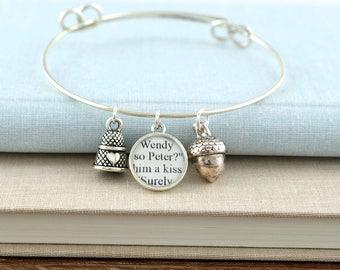 Peter Pan Thimble and Acorn Bracelet – Peter Pan Bracelet – Peter Pan Jewelry – Peter Pan Gifts – Peter Pan Book Bracelet