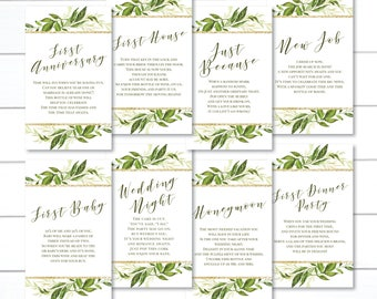 PRINTED, Milestone Wine Tags, Green Wedding Wine Tags,  Wine Tags for Bridal Shower, Year of Firsts Wine Tags, Gift Basket Bridal Shower