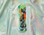 Bookworm Witch / Laminated Bookmark with Silky Cotton Tassel