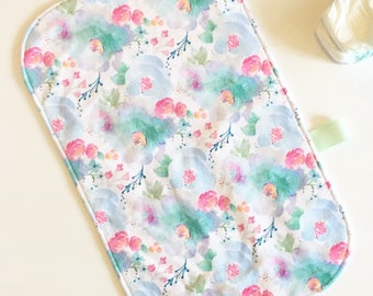 Portable changing pad - floral blues - travel diaper bag - aqua mint fuchsia - flowers floral - waterproof - girl baby shower gift