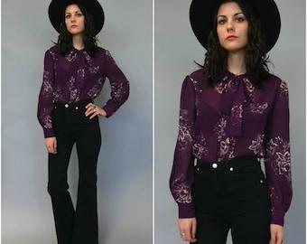 1980s 90s sheer floral necktie blouse