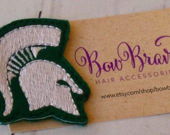 Michigan State Spartan Feltie - Sparty Feltie - MSU feltie - Green and White Feltie - MSU football-MSU sports-Michigan State party-BowBravo