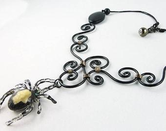 necklace, resin, gothic, goth, spider