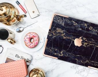 "Black & Bronze Marble Macbook Case with Rose Gold Accents Hard Case for Apple Macbook Air , Mac Pro Retina , Macbook 12"" , Macbook Pro Touch"