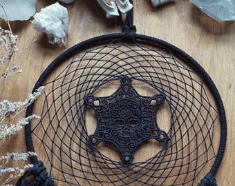 Black Skull Dream Catcher - Gypsy Decor - Witch - Skull Decor - Skull Wall Hanging