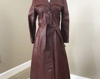 Vintage 70's Leather Belted Trench Coat
