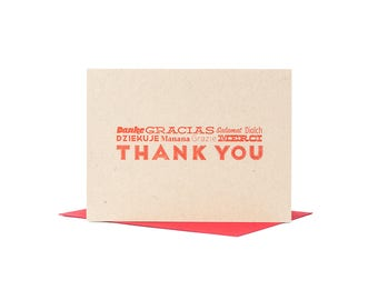 Thank You Letterpress International Greeting Card in Red Ink on Brown or White with a Red Envelope Printed on Antique Presses in Cleveland