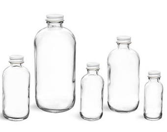 16 Ounce Clear Glass Bottle with White Cap