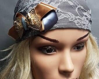 Dark Grey Tichel , Bow Head Scarf , Snood , Chemo Cap , Elegant Head Wrap , Headscarves , Hair Covering , Headwear , Women's Hats