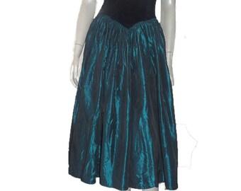 Vintage Jessica McClintock dress Gunnesax 5 / 6 Formal Teal Portrait Off shoulder