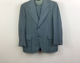 Vintage 70s Blue Herringbone 2-Piece Suit Mens M