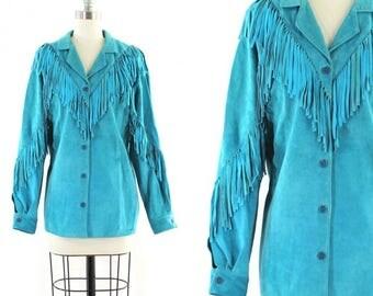 1980s blue suede jacket • blue fringe jacket • suede fringe jacket • blue suede shirt M