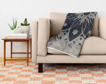 Mandala Blanket - Mandala Print Navy and Grey - Mandala Throw - Available in 3 Sizes