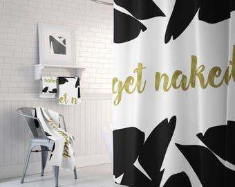 Get Naked Bathroom Decor, Get Naked Shower Curtain, Get Naked Shower Mat, Get Naked Bath Mat, Get Naked Bathroom Set, 71 x 74 inches