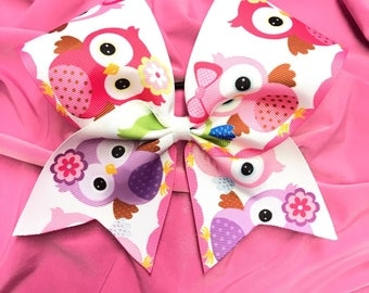 Big Cute Owl Print Cheer Bow on elastic