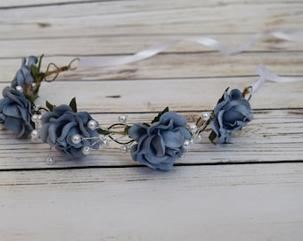 Handcrafted Dusty Blue Pearl Rose Flower Crown - Dusty Blue Wedding Hair - Flower Girl Crown - Blue Christmas Headband - Adult Flower Crown