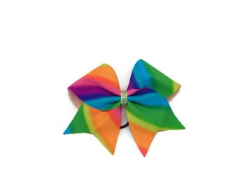 Neon Rainbow Cheer Bow