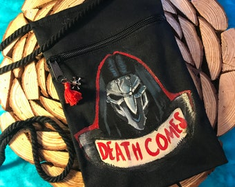 DEATH COMES- Hand-painted Reaper Overwatch hip bag