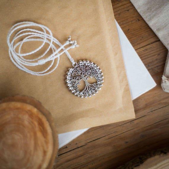 Silver tree of life bride necklace