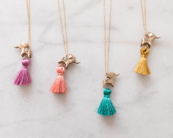 Bronze Elephant Necklace with Tassel