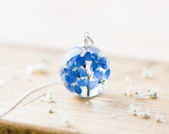 Forget Me Nots Necklace - Pressed Flowers Globe , Gifts For Her , Memorial Necklace , Something Blue , Resin Necklace , Bridal Jewelry