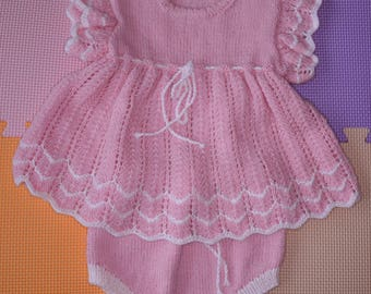 "Hand Knitted Baby Girl Dress and Knickers Pink 4-ply Acrylic Yarn with Wool 18"" 3-6 months"