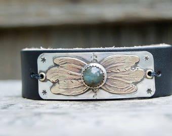 Distressed Leather &Sterling Bracelet . Brass Leaves. Boho. South Western Design. Cowgirl . Bracelet. Boho . By Nin and Bumm