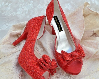 Swarovski crystal wedding bridal red peeptoe platform bow front high heel dorsay pump