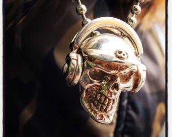 Sterling Silver Skull pendant Silver Skull pendant Gold Skull Pendant Skull DJ Pendant Skulls Pendant Skull Headphones Pendant DJ Pendant