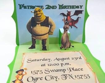 Shrek Pop Up Invitation, Shrek Invites, Shrek Party, Shrek and Donkey Birthday, Shrek Birthday Party, Pop Up Invitation, Puss in Boots