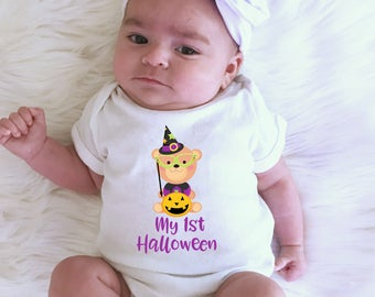 My 1st Halloween, my first halloween, Halloween Bear, halloween shirt, 1st halloween outfit, halloween outfit, baby girl outfit