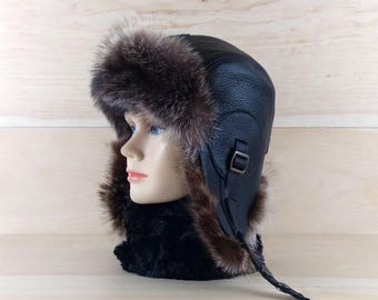 Size: S, Men/Women Ushanka, Fur Aviator Trapper Hat Cap, Bomber hat, Russian Hat, Real Black Leather, Recycled Raccoon Fur CA17