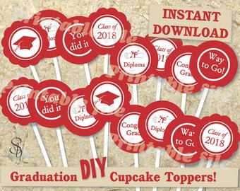 Red and white graduation cupcake toppers printable DIY template instant download