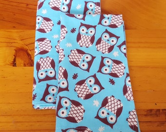 Baby burp cloths, flannel burp cloth, owl burp cloths, diaper bag, baby shower gift