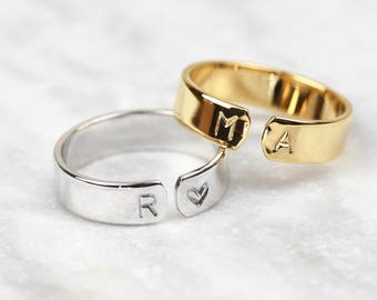 Initial Ring • Customisable Ring • Personalised Ring • Adjustable Ring • Personalized Jewelry • Stacking Ring • Initial Jewellery