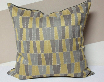 Gray and Yellow pillow cover, Carnegie fabrics, Modern pillow cover, Geometric pillow cover