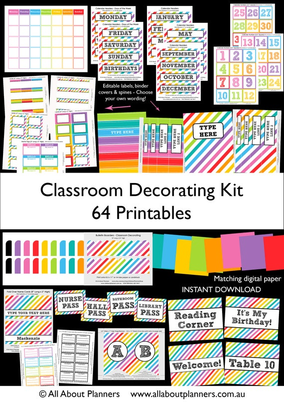 Classroom Decor Pdf ~ Classroom decorating kit printables organization rainbow