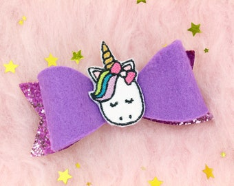 Gifts For Girls - Glitter Hair Bow - Unicorn Gifts - Unicorn Presents - Unicorn Bow - Unicorn Hair Bow - Unicorn Accessories - Cute Gifts
