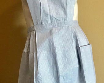 Vintage 1920's Italian Blue Cotton Apron