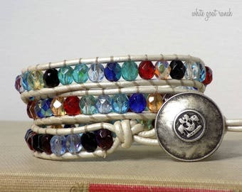 Leather Bracelet, Glass Beads, Multi Colored, Pearl White Leather, Beaded Bracelet Wrap Bracelet, metal Button