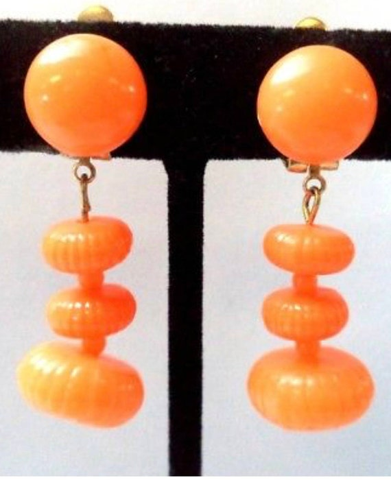 Bright Citrus Orange Vintage Mold Cast Celluloid Signed HONG KONG Clip on Earrings