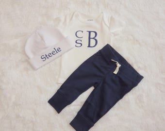 Baby Boy Coming Home Outfit. Monogram Bodysuit. Dark Blue Knit Pants. Newborn Hospital Hat. Baby Boy Outfit