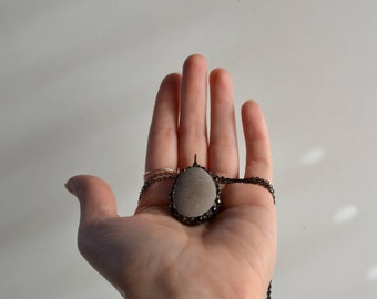 Gray beach stone pendant, Rustic natural jewelry, Soldered pebble necklace, Sustainable jewelry, Gift for women