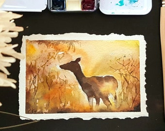 Golden Hour - Original watercolor painting - deer watercolor