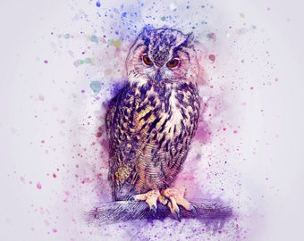 owl art print, owl water color, watercolor owl print, bird art print, animal poster, fantasy owl art, owl wall art, owl decor, colorful art