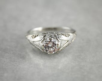 Art Deco Diamond White Gold Filigree Engagement Ring, Vintage Solitaire Ring MY0Y94-R