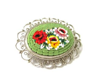 Italian Micro Mosaic Pin/Mint Green Oval Micromosaic Brooch/Floral Silver Tone Filigree Pin /Red Yellow Pink Flowers