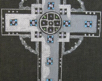 Handpainted Needlepoint Canvas Leigh Designs Tiffany Cross Crucifix 4754
