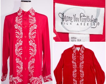 DIANE VON FURSTENBERG Vintage Red Silk Blouse with Intricate White Embroidery